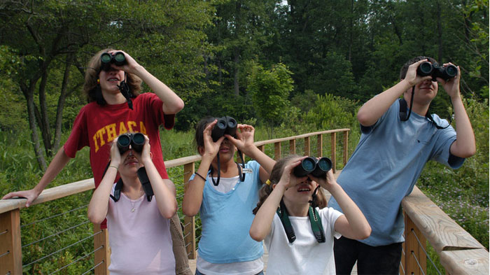 Family With Binocular at Park
