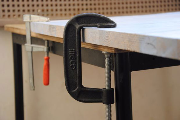 C Clamp on Wood Table