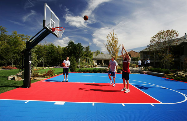 Players with Basketball Hoop